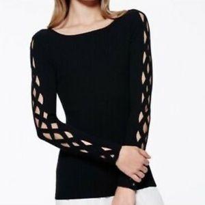 Ramy Brook Kimila Ribbed Lattice-Cutout Sweater